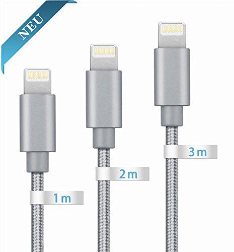 Globalink 3 piezas de 1m,2m,3m Lightning Cable Nylon Trenzado para iPhone 7/7...