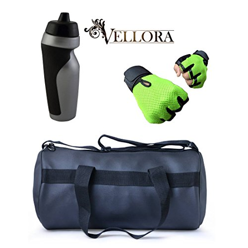 VELLORA Soft Leather Duffel Gym Bag (Black) With Penguin Sport Sipper, Gym Sipper Water Bottle Color Black Grey... - B07F2MV3J3