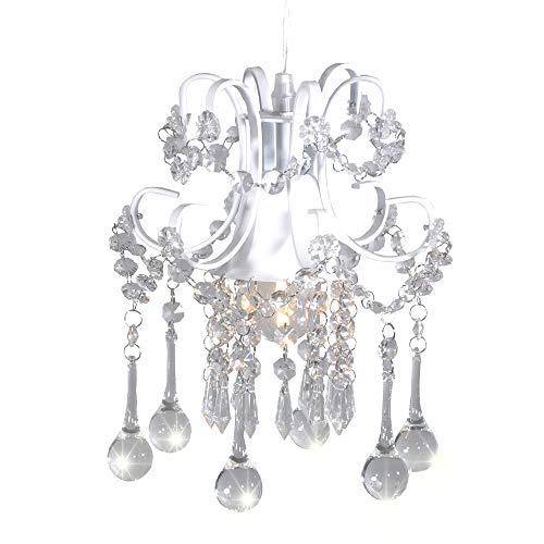 Dellemade Mini Kristall kronleuchter 1-Licht Pendelleuchte, Weiß