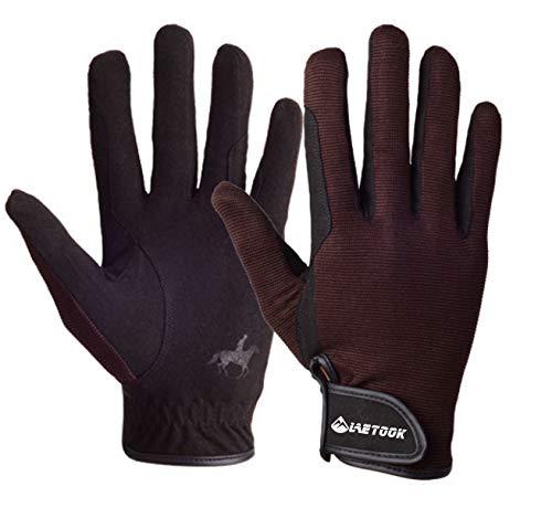 Letook BOODUN Reithandschuh-Professional Tragbar, Atmungsaktiv und Bequem Kinder Unisex Schwarz REIT Handschuhe Herren Damen(Braun,L)