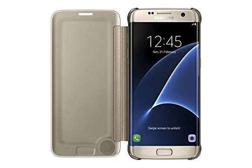 Samsung Clear View Cover Hülle für Galaxy S7 edge, gold