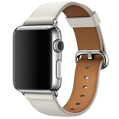 samLIKE Single Tour Lederband Armband Uhrenarmband für Apple Watch Serie 3 38MM (Weiß) - Apple-weiß-kleidung