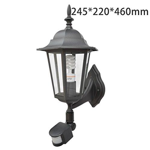 SCONCE 1-Licht Outdoor Wandhalterung Laterne Upward Leuchte Traditional Desigh Black Finish, Klarglas Shade E27 (2 aus Dem Verkauf),245*220*460 (Klarglas-finish)