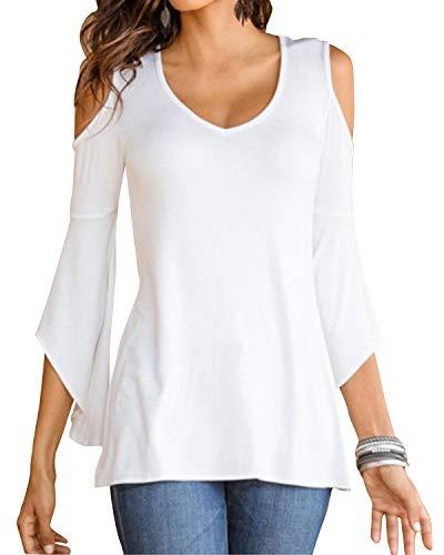 YOINS Bluse Damen Kurzarm Schulterfrei Oberteil Tops Damen Sommer Carmen Shirt Rundhals Einfarbig 3/4Ärmeln-Weiß EU46 -