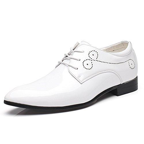 HYLM Scarpe a punta, scarpe casual per gli uomini, scarpe in pelle verniciata stilista britannica, scarpe da sposa White