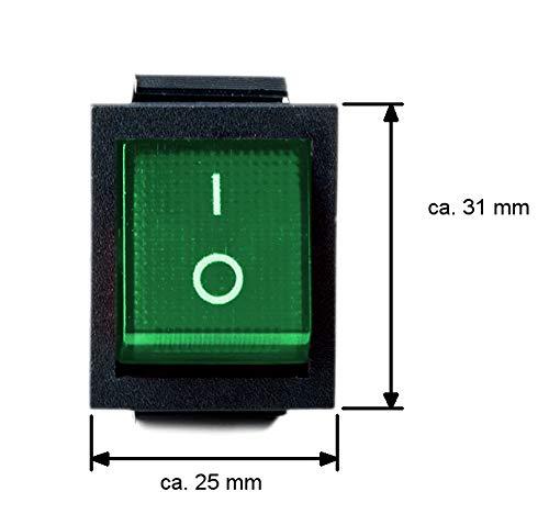 Wippschalter eckig grün beleuchtet 2-polig 250V 16A EIN/AUS Snap-In Einbaumaß 31x25mm 201A - Snap In Wippschalter