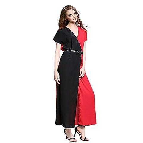 Years Calm - Robe - Ajourée - Manches Courtes - Femme rouge noir/rouge - rouge - 36