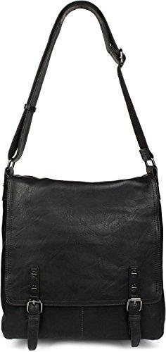 styleBREAKER Messenger Bag Umhängetasche mit Schnallen auf der Vorderseite, Schultertasche, Tasche, Unisex 02012218, Farbe:Schwarz