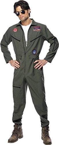 Costume per feste, ispirato a Top Gun, da uomo, abbigliamento per feste, colore: verde.