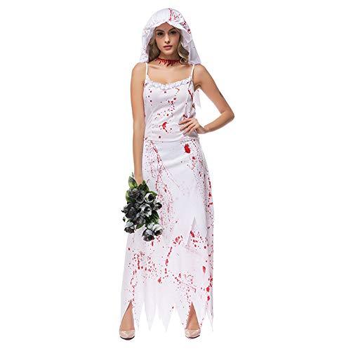 AELN Mini Kostüm Halloween Kostüme, Cosplay Weibliche Geister Braut Halloween Party Outfit für Erwachsene, Kleid + Kopfbedeckung (Spiel Des Todes Baby Kostüm)