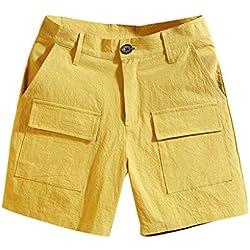 NPRADLA Mode été Hommes Bermudas Décontracté Couleur Pure Combinaison Multi-Poches Comfort Beach Pantalon Court