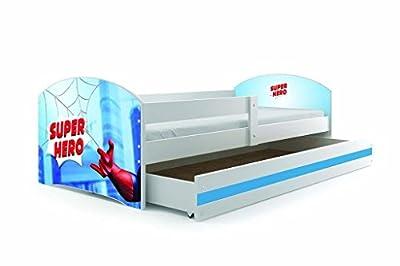Cama individual LUKI - SPIDERMAN, 160X80, con cajón, somier y colchón de espuma GRATIS!