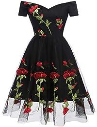 d31ba71623b8d HaoHuodress Donna Spalla Vintage Ricamo Rosa 1950s Rockabilly Abito da Sera  Pizzo Swing Linea ad a
