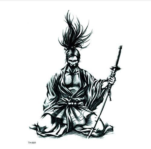 ruofengpuzi Japanische Samurai Wasserdicht Tattoo Aufkleber Body Art Tattoo Schwert Fake Tattoo Temporäre Tattoo Ärmel Japanische Krieger Wasserdicht Tattoo Aufkleber Body Art Tattoo Schwert Fake (Samurai Kostüm Weibliche)