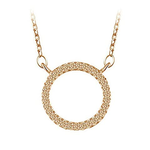 Yoursfs 18K Rose Gold Plated Open Circle Ring Pendant Necklace - Argento Nome Blocco Collana