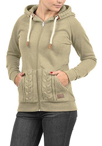 DESIRES Matilda Damen Sweatjacke Kapuzen-Jacke ZIp-Hoodie aus hochwertiger Baumwollmischung, Größe:XXL, Farbe:Dune Melange (8409) - 2