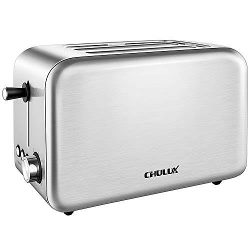 Chulux Toaster Edelstahl Doppelschlitz 6 Brunungsstufen 2 Brotscheiben 850 Watt