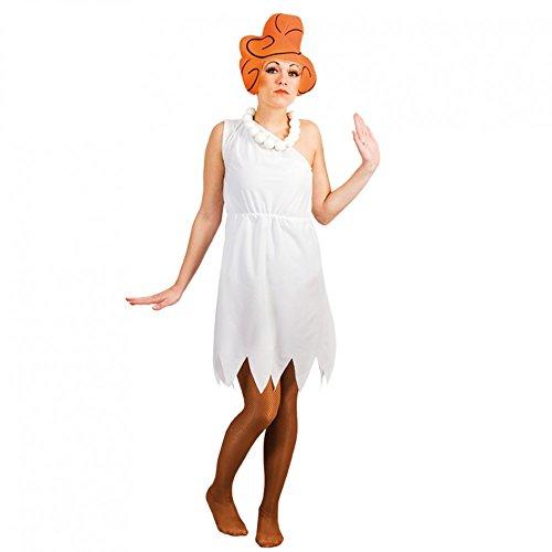 Kostüm Steinzeitfrau Wilma Gr. M, L Kleid weiß Hut Urmensch Fasching (Perücke Fred Feuerstein)