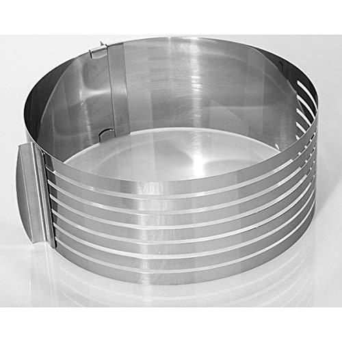 WEIWEITOE Kuchen Ring Cake Slicer Edelstahl Backform einstellbare versenkbare runde Backform geschichtet Backen Tool Kit, Silber, (Kuchen Edelstahl Slicer)