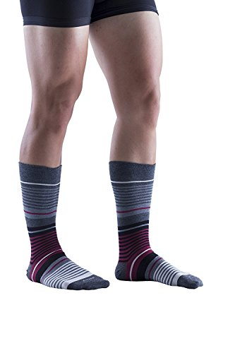 Big And Tall Crew Socken (Kingly Socks Herren Socken Gr. One size, Striped Burgundy (1 Pack))