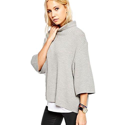 FEITONG Las mujeres del otoño y del invierno rollo de cuello alto Cuello alto Jerseys Suelto Suéter (XL,