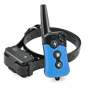 Feisui Collier De Dressage pour Chien avec Mode Bip/Vibration/Lumière LED Télécommande Contrôle Portée 300 Mètres, 100 Niveaux d'Intensité Réglable, Économiser l'électricité