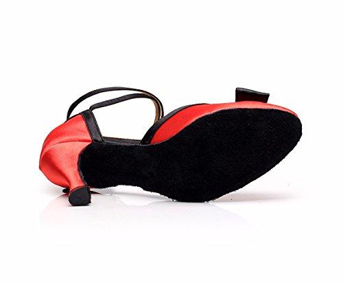 misterioso da donna Latin Dance scarpe con suola morbida femmina latina sandali da ballo scarpe Red
