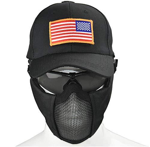 Jffcestore Taktische Mütze mit Faltbarer Halbmaske aus Mesh und Brille und Morale Patches, Herren, schwarz, Medium