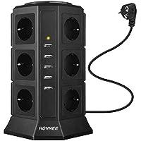 HOVNEE Tour Multiprise, 12 Prises, 5 Ports USB Ligne en cuivre Pur de 2 m Prise Multi-Ports, Protection Contre Les Surcharges et Les Surtensions
