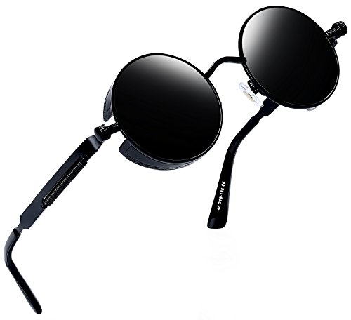 Joopin polarisierte Runde Sonnenbrille Männer Frauen Retro Steampunk Sonnenbrille E4056(Schwarzes Retro)