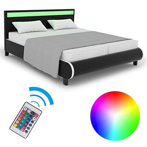 Homelux LED Bett Polsterbett Kunstlederbett Doppelbett Bettgestell Bettrahmen 180 x 200 cm Schwarz