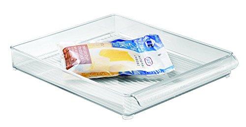 InterDesign Refrigerator and Freezer Storage Organizer Tray for Kitchen - 12 x 2 x 14.5, Clear