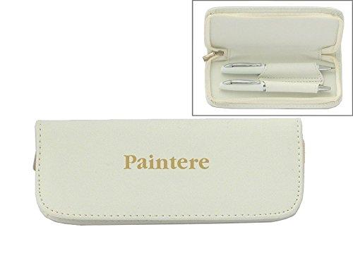 Set de pluma en estuche de cuero artificial de color blanco con nombre grabado: Paintere (nombre de pila/apellido/apodo)