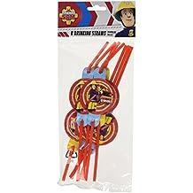 8 pajitas * Fireman Sam * para la fiesta y el cumpleaños // Bomberos bombero Pajas Pajas