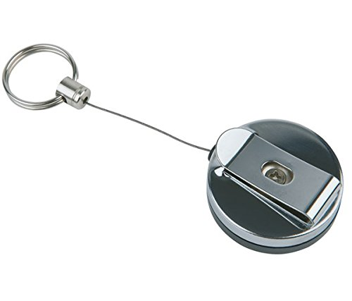 Schlüsselschnur, 2er Set, aus ABS Kunststoff, Metall & Edelstahl, mit Einrollautomatik, Befestigung mit Klammer am Gürtel, starke Rückzugfeder / Länge Schnur: 65 cm | SUN