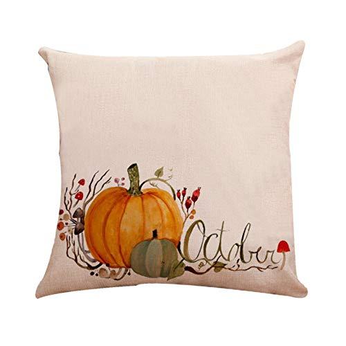 Sokmoop Halloween Kürbis Gemusterte Kissenbezüge Baumwolle Leinen Dekor - Halloween Dekor