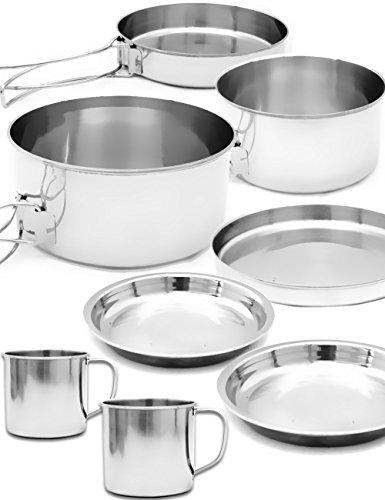 Outdoor saxx® – 8 Set de voyage Pot Set Vaisselle – 2 Casseroles, Poêle, 2 tasses, 3 assiettes – Camping, les feux de camp, barbecue, Bouilloire – acier inoxydable, lot de 8