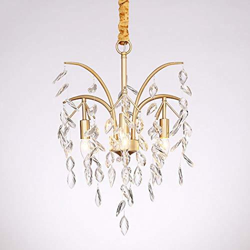 Moderne Kristalle Kronleuchter, 3-Licht kleine Kronleuchter Anhänger Beleuchtung, Deckenleuchten Leuchten für Wohnzimmer Schlafzimmer Restaurant Esszimmer, Gold -