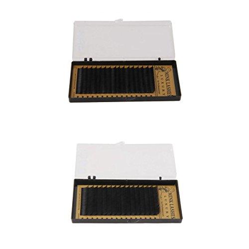 MagiDeal Faux Cils Individuels Plat Noir 3D Naturel pour Extensions de Cils Semi Permanents 10mm,12mm