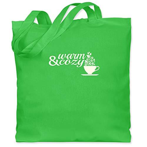 Statement Shirts - Warm & cozy Tee - Unisize - Hellgrün - WM101 - Stoffbeutel aus Baumwolle Jutebeutel lange Henkel (Kaffee-tassen Grüner Berg)