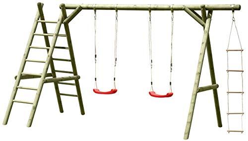 Gartenpirat Schaukelgestell Holz mit 2 x Schaukelsitz, Leiter und Strickleiter