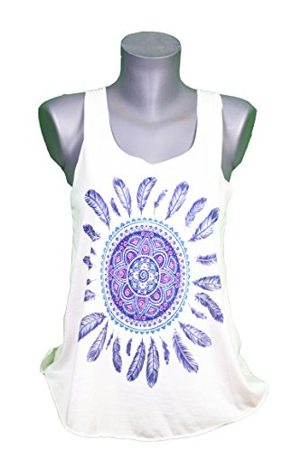 GL BOUTIK Camiseta SIN Mangas para Mujer - Mandala - atrapasueños - Estilo Etnico - Dreamcatcher Woman Tank-Top