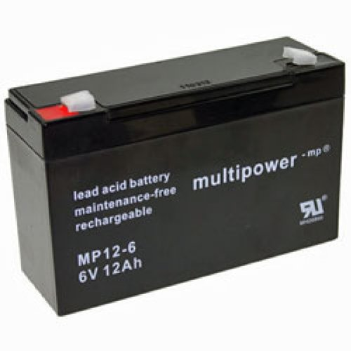 Multipower MP12-6 Blei Akku mit 6,3mm Faston Stecker 6V, 12Ah