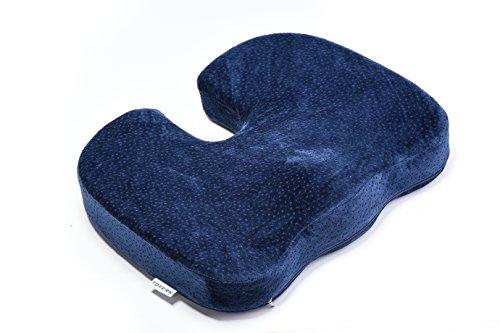 Tofern Steißbein Orthopädie Memory-Schaum Sitzkissen Autokissen Für Rückenschmerzen Steißbein Und Ischias Schmerzen - Dunkelblau, Samt (Memory-schaum-keil-kissen)