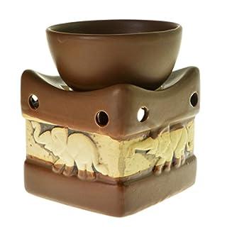 Duftlampe mit Elefanten - Rustikale Keramik - Braun
