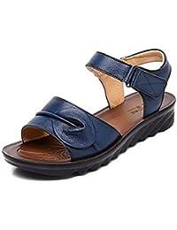 TGKHUS Sandalias De Cuero De Señoras Ocasionales Zapatos Planos Antideslizantes Suaves