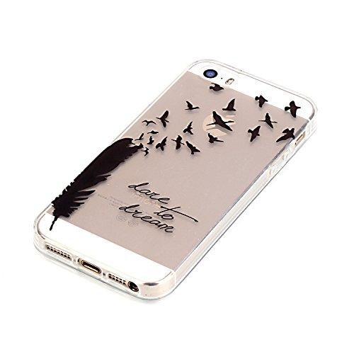 iphone 5 iphone 5S iphone SE Coque,Cozy Hut Etui Coque TPU Slim Bumper pour Apple iphone 5 / 5S / SE (4,0 pouces) Souple Housse de Protection Flexible Soft Case Cas Couverture Anti Choc Mince Légère S Plumes noires, oiseaux, aiment à rêver