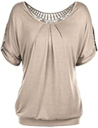 DJT Femme T-Shirt Ajoure au dos Lace dentelle Tops manches courtes