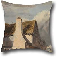 Pittura a olio Sir Augusto Callcott – Cottage da un paese Lane Throw Pillow Case 50,8 x 50,8 cm/da 50 x 50 cm scelta migliore per famiglia, matrimonio, Bar, famiglia, Home Theater, padre con entrambi i lati