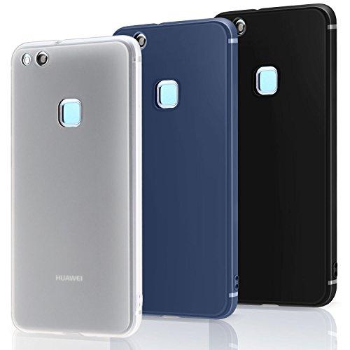 3 PCS × Custodia Huawei P10 Lite Cover Silicone , Leathlux [Ultra Sottile] Morbido TPU Custodie Protettivo Flessibile Gomma Gel Skin Cover per Huawei P10 Lite 5.2 Pollici Nero, Blu scuro, Bianco